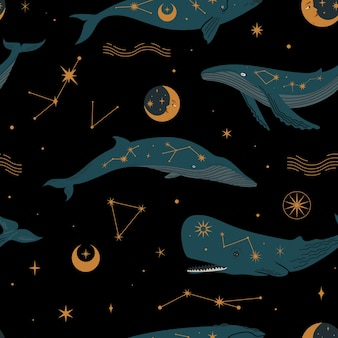 Seamless pattern with different types of cosmic whales spermsei blue and constellations