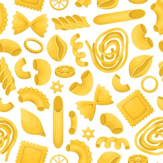 The seamless pattern with different types of italian pasta.