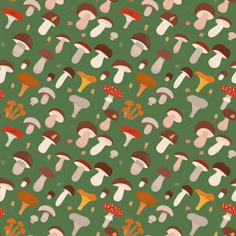 緑の森のキノコフラット漫画ベクトルイラストのさまざまな種類とのシームレスなパターン...