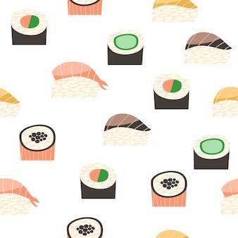 さまざまな種類の寿司とシームレスなパターン。