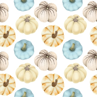 Seamless pattern with different types of pumpkins