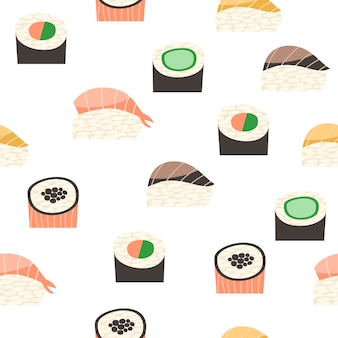 Seamless pattern with different types of sushi.