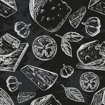 Seamless pattern with different varieties of cheese.
