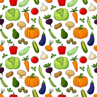 さまざまな野菜とのシームレスなパターン。輪郭のある色付きの手描きの線形要素は、透明な背景に分離されています。キッチンアクセサリーや食品包装のデザインに。