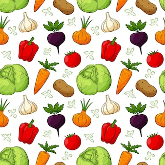 Seamless pattern with different vegetables. colored hand-drawn linear elements with an outline are isolated on a transparent background. for the design of kitchen accessories and food packaging.