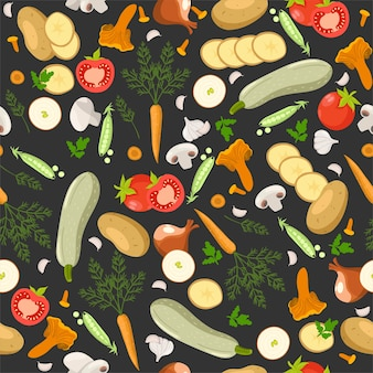 Seamless pattern with different vegetables.