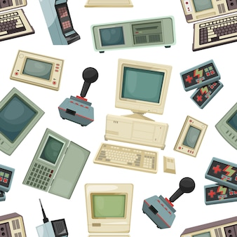 Seamless pattern with different vintage computers and gadgets. retro technology equipment device for game and play. vector illustration