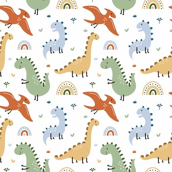 Seamless pattern with  dinosaur and pterodactyl. prehistoric animals. background for sewing children  clothing, printing on fabric and packaging paper.