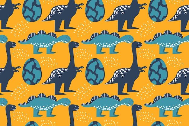 恐竜と卵のシームレスなパターンステゴサウルスとティラノサウルスの笑顔ベクトル図