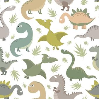 Бесшовный фон с динозаврами и тропическими листьями.