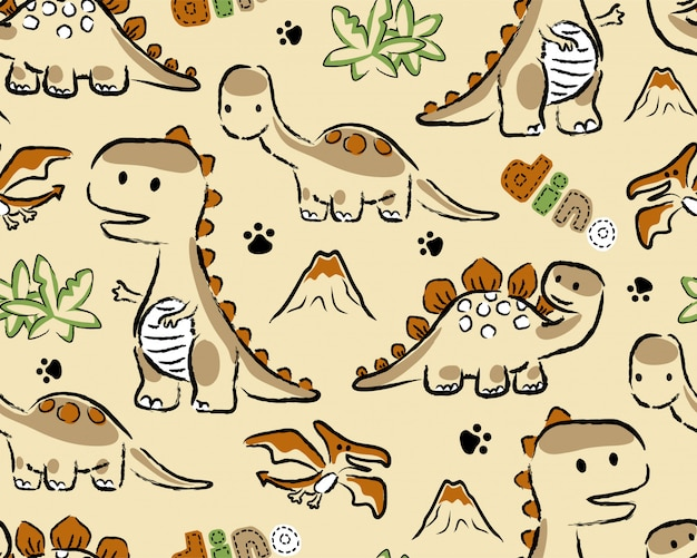 Seamless pattern with dinosaurs cartoon