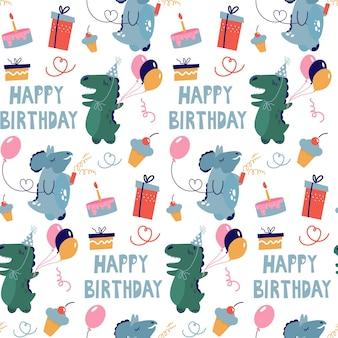 Бесшовный фон с динозаврами, празднующими день рождения. симпатичные персонажи и подарки в стиле каракули.