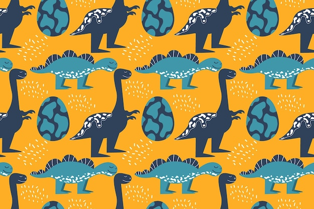 Seamless pattern with dinosaurs and an egg stegosaurus and tyrannosaurus smile vector illustration