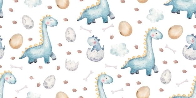Seamless pattern with dinosaurs eggs footprints cute childish illustration