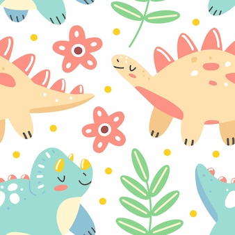 Seamless pattern with dinosaurs and leaves in a cute cartoon style