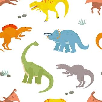 白い背景の上の恐竜とのシームレスなパターン印刷用ベクトル図