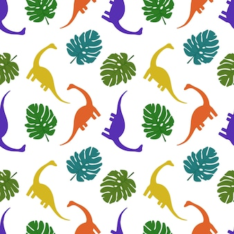 Seamless pattern with dinosaurs and palm leaves print of silhouettes of multicoloured diplodocus and...