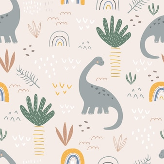 Seamless pattern with dinosaurs and palm trees on a colored background vector illustration