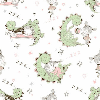Seamless pattern with dinosaurs and small children. vector.