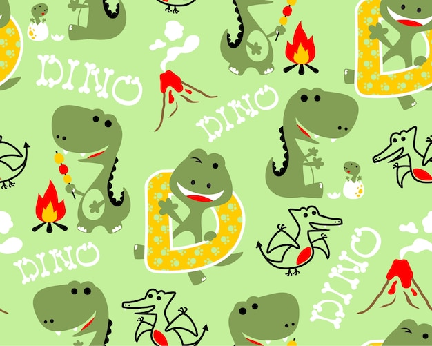 Seamless pattern with dinosaurs vector cartoon