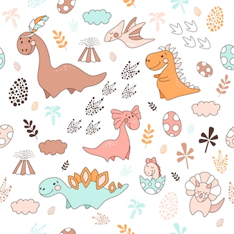 Seamless pattern with dinosaurs, vector illustration