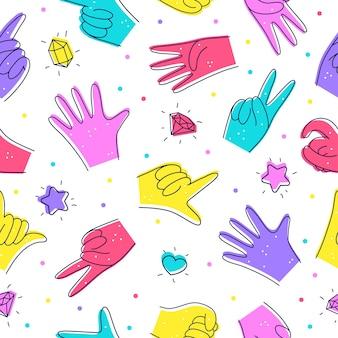 낙서 스타일의 다양한 손 일러스트와 함께 완벽 한 패턴 손 제스처의 지정