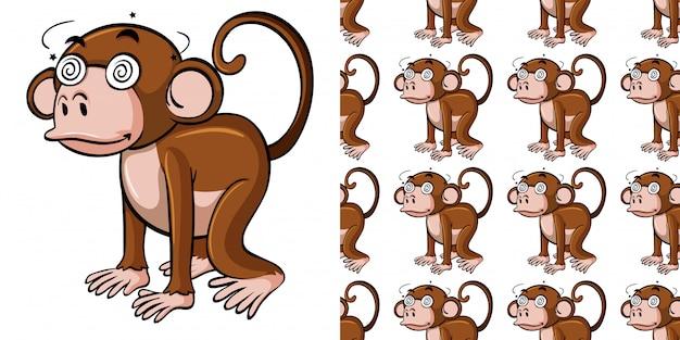 Seamless pattern with dizzy monkey