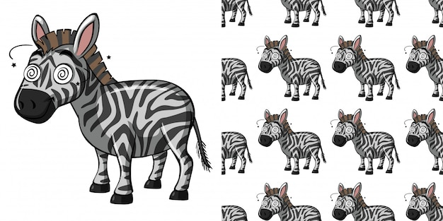 Seamless pattern with dizzy zebra