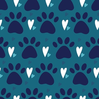 Seamless pattern with dog or cat pet paw silhouette and hearts kitten or puppy trace background