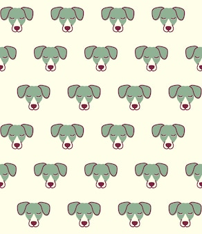 Seamless pattern with dog . cute jack russell terrier head