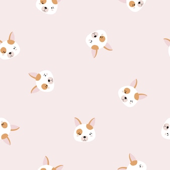 Seamless pattern with dog faces.