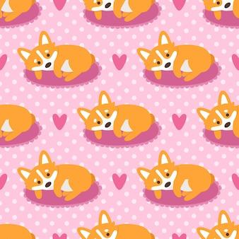 Бесшовный фон с собакой вельш корги на розовом фоне в горошек с сердечками