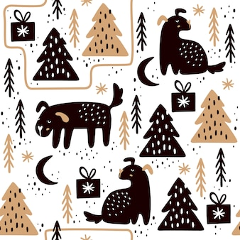Бесшовный фон с собаками и елочными деревьями