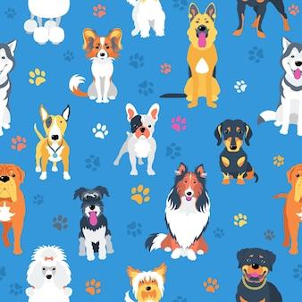 犬のフラットなデザインとのシームレスなパターン