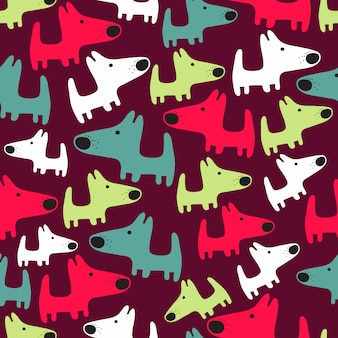 犬とシームレスなパターン