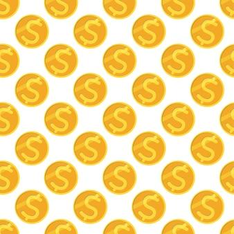 달러 동전과 완벽 한 패턴입니다. 벡터 배경입니다.