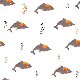 スカンジナビアスタイルのイルカとのシームレスなパターン。手描き
