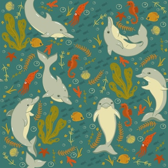 Seamless pattern with dolphins and sea animals.