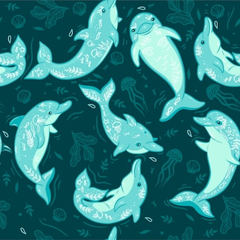 Seamless pattern with dolphins and sea elements.