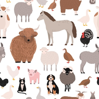 Seamless pattern with domestic farm barnyard animals and birds