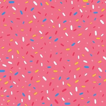 도넛 글레이즈와 스프링클이 있는 원활한 패턴