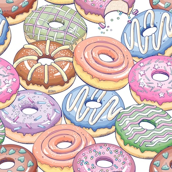 Seamless pattern with donuts.