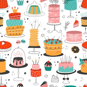 Seamless pattern with doodle colorful cakes