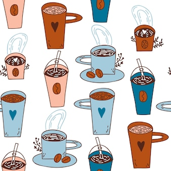 Seamless pattern with doodle cups with coffee colorful cups with coffee