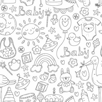 Seamless pattern with doodle elements birth of a child baby print with cute elements