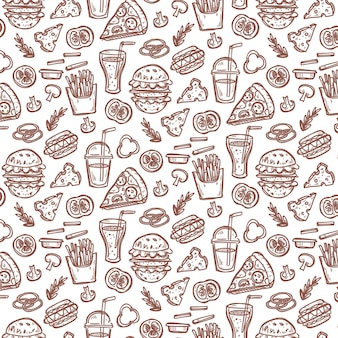 Seamless pattern with doodle fast food elements.