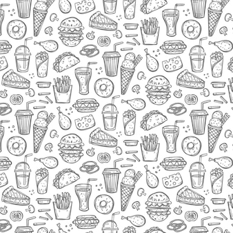 Seamless pattern with doodle fast food symbols.