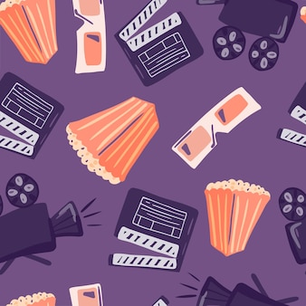 Seamless pattern with doodle flat popcorn, camera, glasses and clapperboard elements