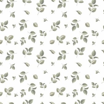 Seamless pattern with doodle leaves design