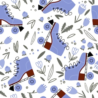 Seamless pattern with doodle roller skates summer flowers leaves and berries